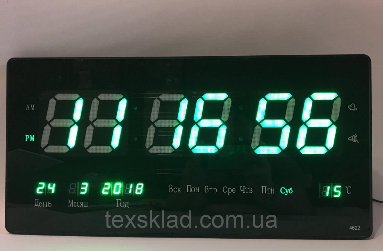 Настенные электронные часы Led Clock 4622 green (46x22см/Руское меню)