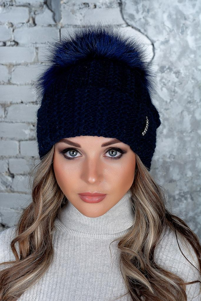 Шапка женская с большим бубоном Flirt Монако One Size синяя