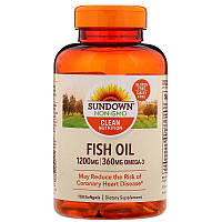Рыбий жир, Sundown Naturals, 1200 мг, 100 мягких таблеток