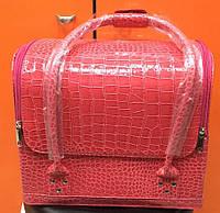 Чемодан, маникюрная сумка для мастера, кож.зам, лак, кораловый цвет, фото 1
