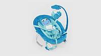 Детский шезлонг.BT-BB-0002-Blue.Подвеска с игрушками.Голубой