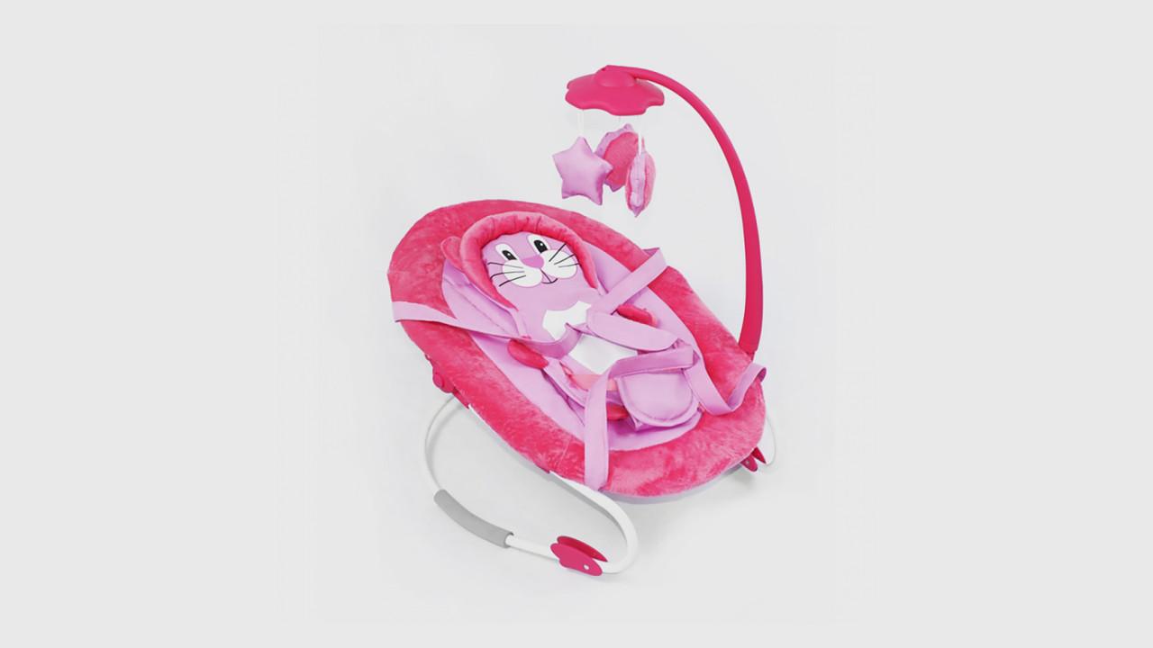 Детский шезлонг.BT-BB-0002-Pink.Подвеска с игрушками.Розовый