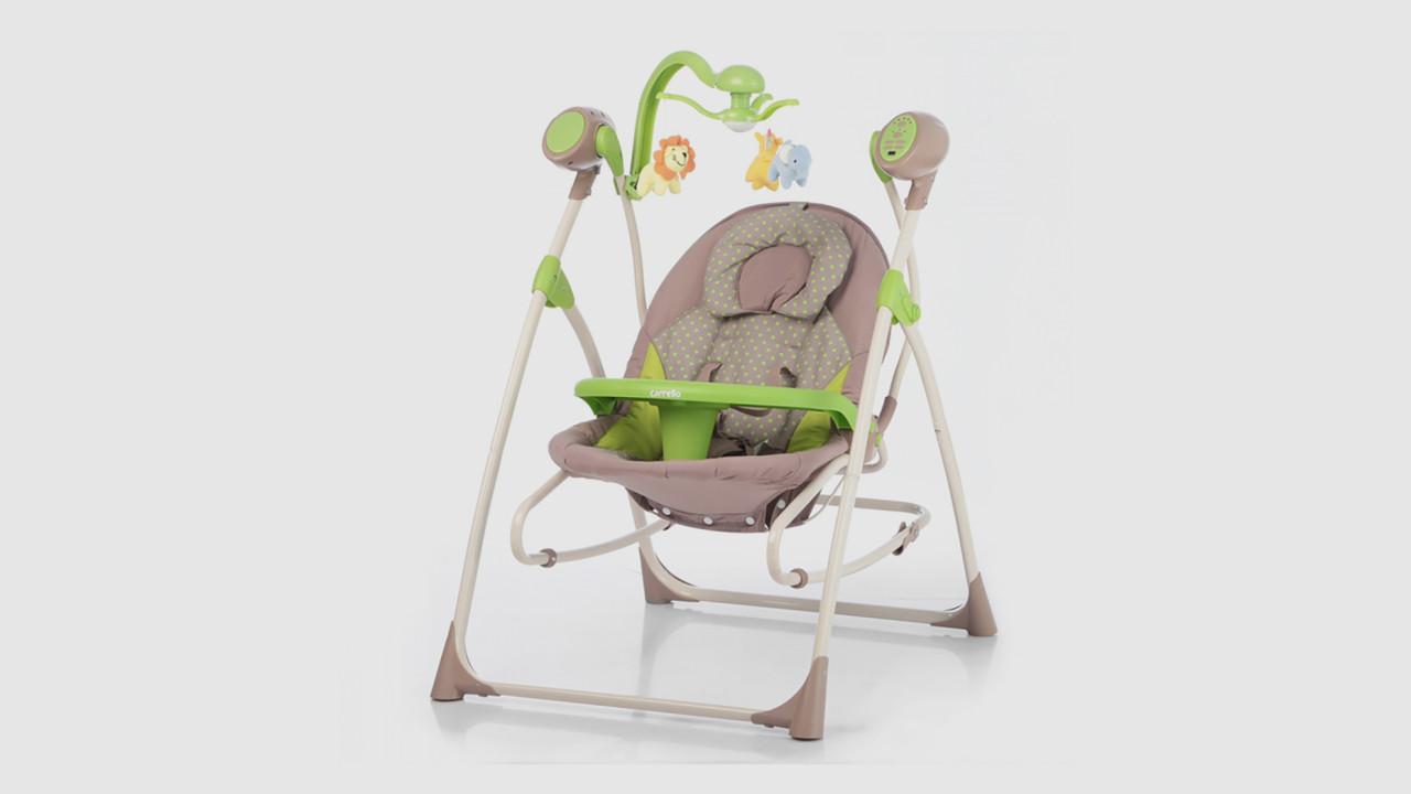 Качели колыбель Carello Nanny.CRL-0005-GREENDOT.Мобиль.Музыка.Зеленый