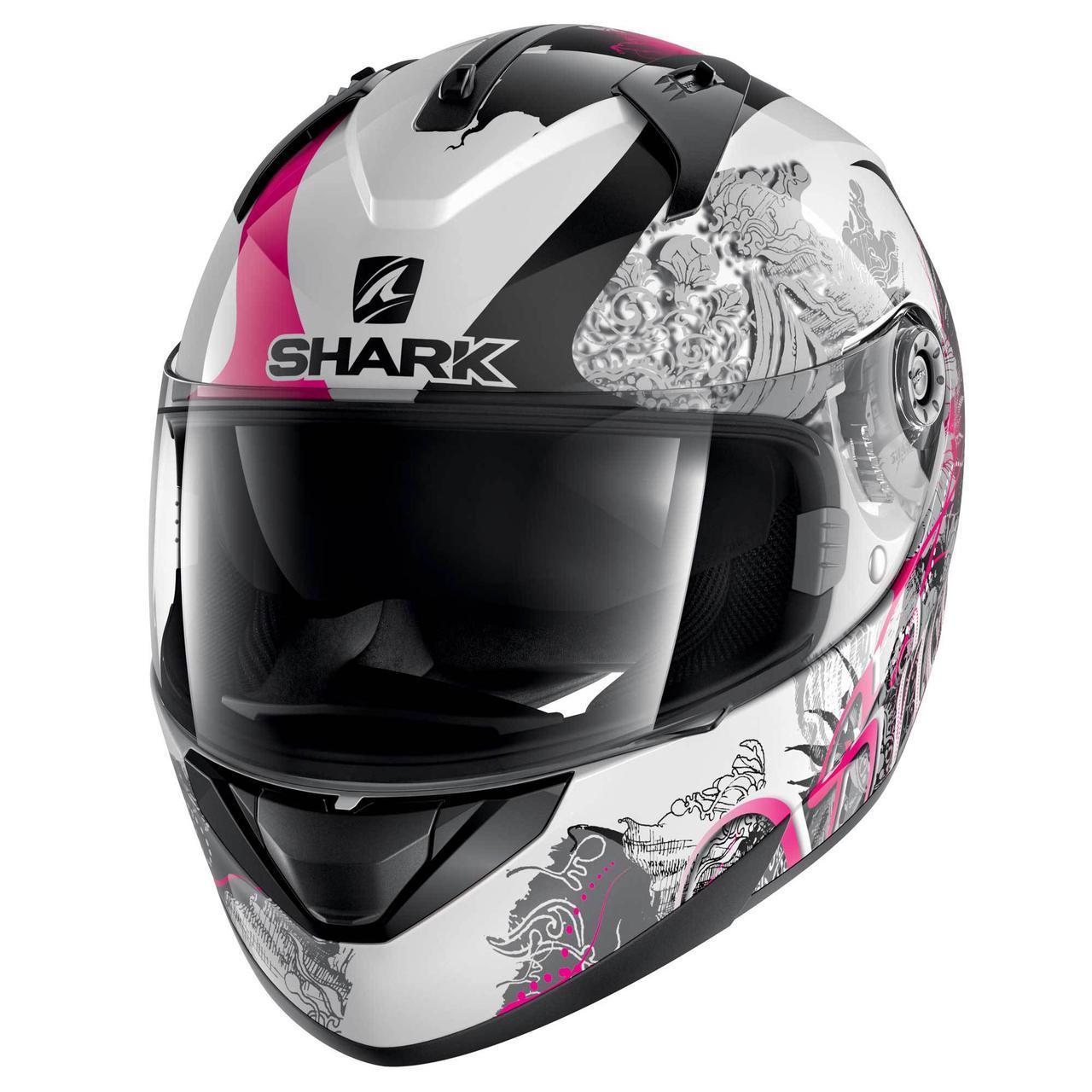 Шлем Shark Ridill Spring р.M, черно-бело-розовый