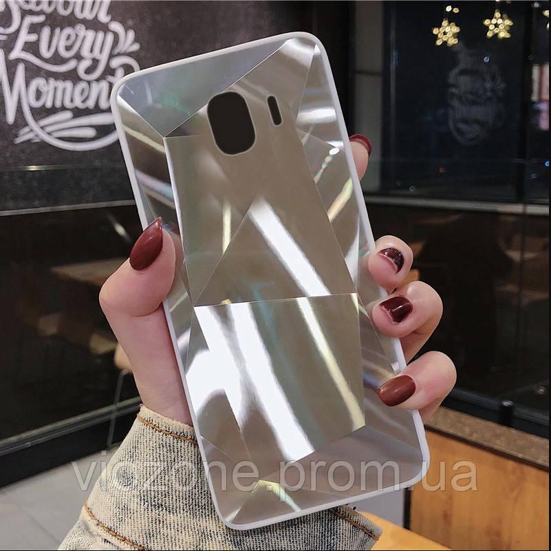 3D Зеркальный Чехол/Бампер для Samsung Galaxy J4 2018 / J400, Серебро