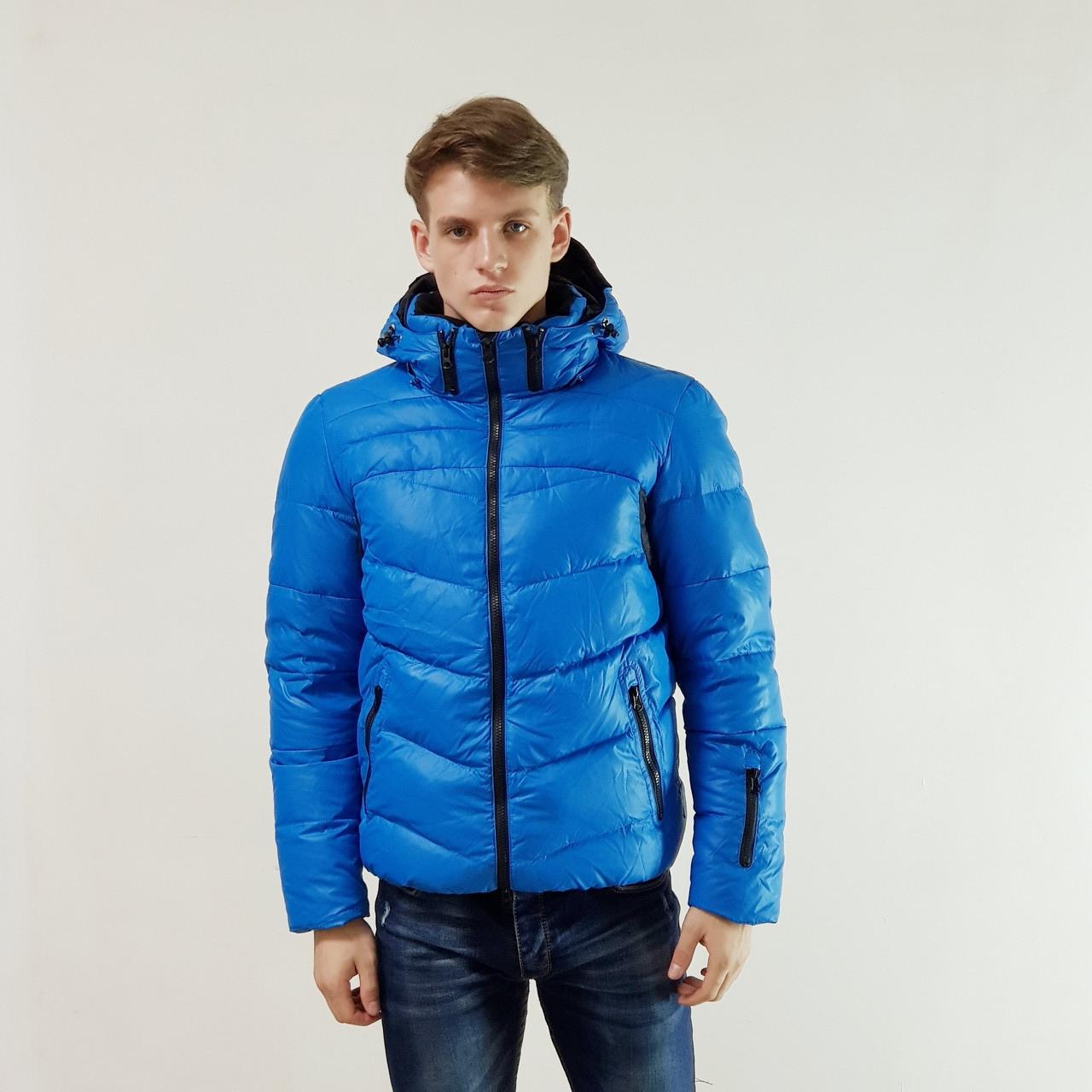 Мужская зимняя куртка пуховик Snowimage голубой на пуху с капюшоном, распродажа