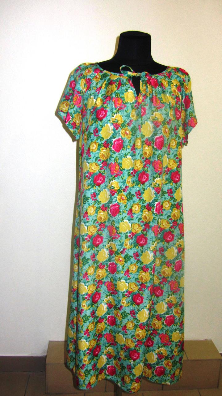 Платье  женское ,зеленое с цветочным принтом , романтик, летнее ,свободного кроя, 48, 50,52, пл-002-3.