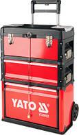 Инструментальная тележка Yato для СТО на колёсах с выдвижной ручкой 3 ящика