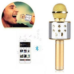 Беспроводной микрофон-Караоке Bluetooth WSTER WS-1688 Gold золото