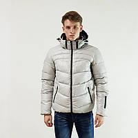Легкий пуховик мужской Snowimage  светло-серый зимний на пуху с капюшоном, скидки, фото 1