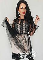 Кружевное платье с пышной юбкой и сеткой в горошек 79ty168