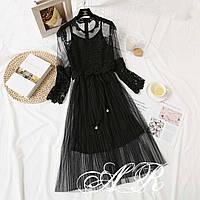 Платье с фатиновой юбкой и верхом из кружева и сетки 79ty169