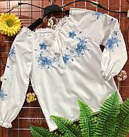 Вышиванка с синей вышивкой БАТИСТ 092р-146р 128