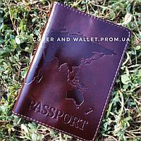 Бордова обкладинка на паспорт з тисненням карти світу із натуральної шкіри (Алькор)