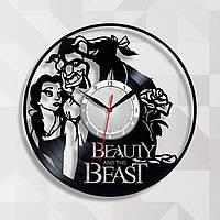 Мультяшные часы Красавица и чудовище часы Часы с винила Часы на подарок девочке Часы в детскую Виниловый декор