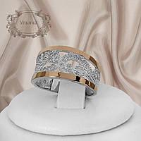 """Серебряное кольцо с золотыми пластинами """"Ульяна"""", фото 1"""