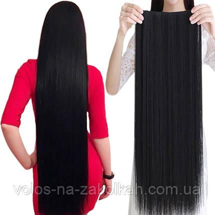 Тресса 100см длина волосы на ленте черные длинные широкая одиночная прядь натуральный черный 100см, фото 2