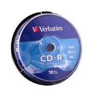 Диск Verbatim CD-R (700Mb, 52x, Wrap 50pcs, 43787)