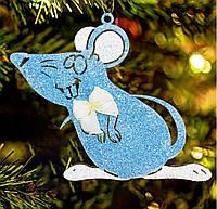 """Деревянная игрушка на елку """"Любопытный мышонок"""" высота 12 см, голубая"""