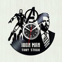 Часы Iron Man Часы настенные Железный человек Тони Старк силуэт Tony Stark Часы виниловые Супергерой Марвел