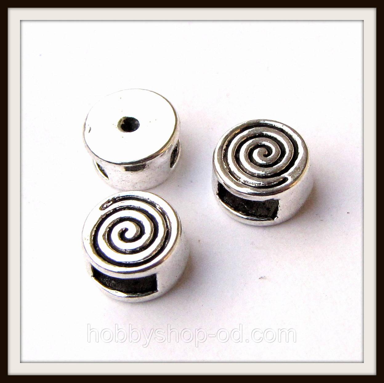 Бусина-рамка для браслетов  спираль мини (диам 0,8  см) 12 шт