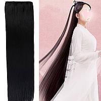 Тресса 100см длина волосы на ленте черные длинные широкая одиночная прядь 80см 70см 60см