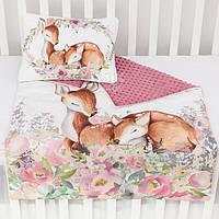 """Плед и подушка с цифровой печатью """"Косули в цветочном веночке"""" малаганского розового цвета"""