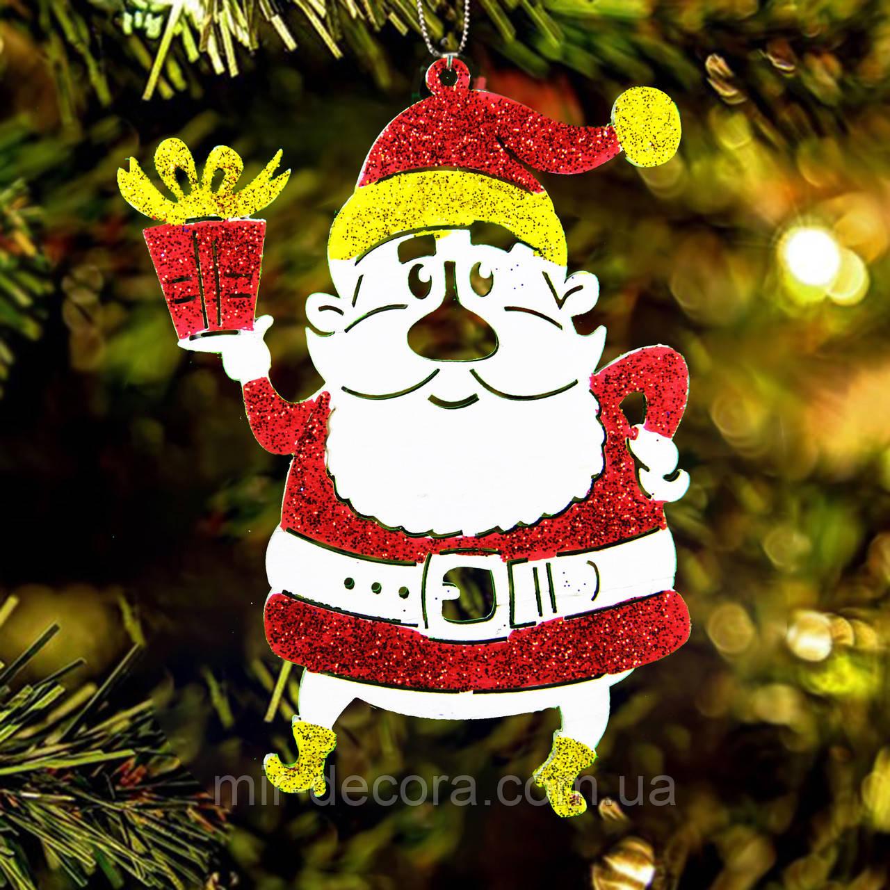 """Деревянная игрушка на елку """"Дедуля Санта"""" высота 12 см, красный"""
