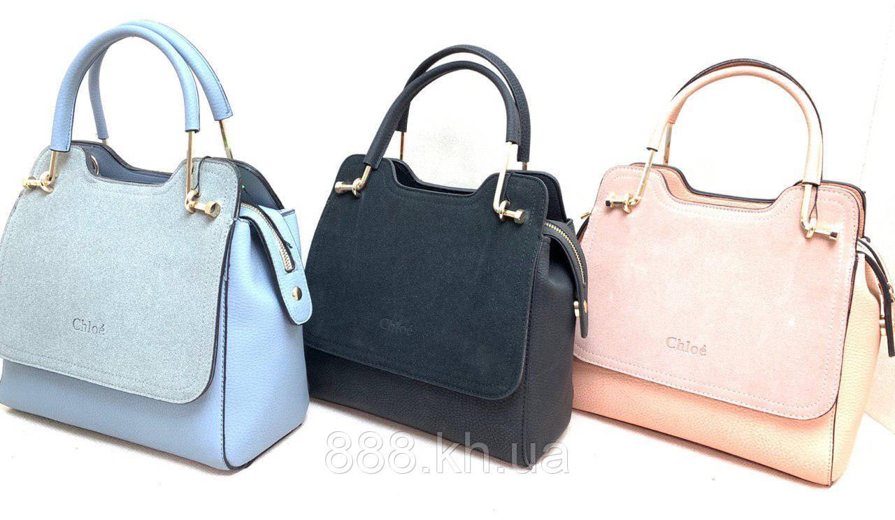 Женская кожаная сумка Chloe, натуральная замша, жіноча сумка