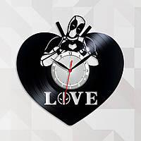 Marvel Часы Дэдпул часы с винила Deadpool Супергерой Марвел Часы в детскую комнату Дедпул Кварцевые часы 30 см