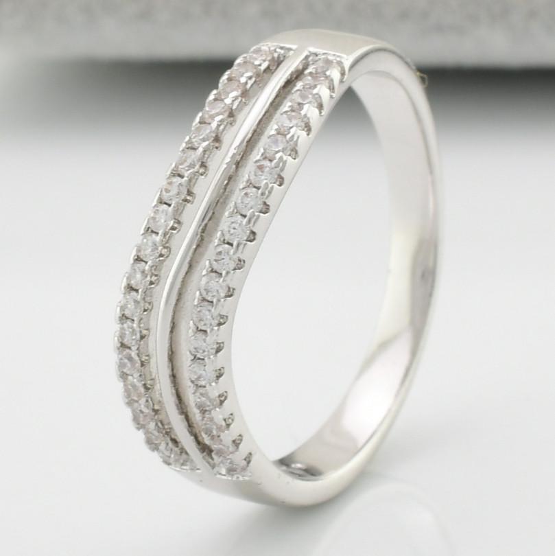 Кольцо 13786 размер 18, ширина 5 мм, куб. цирконий, вес 2.7 г, Белое Золото