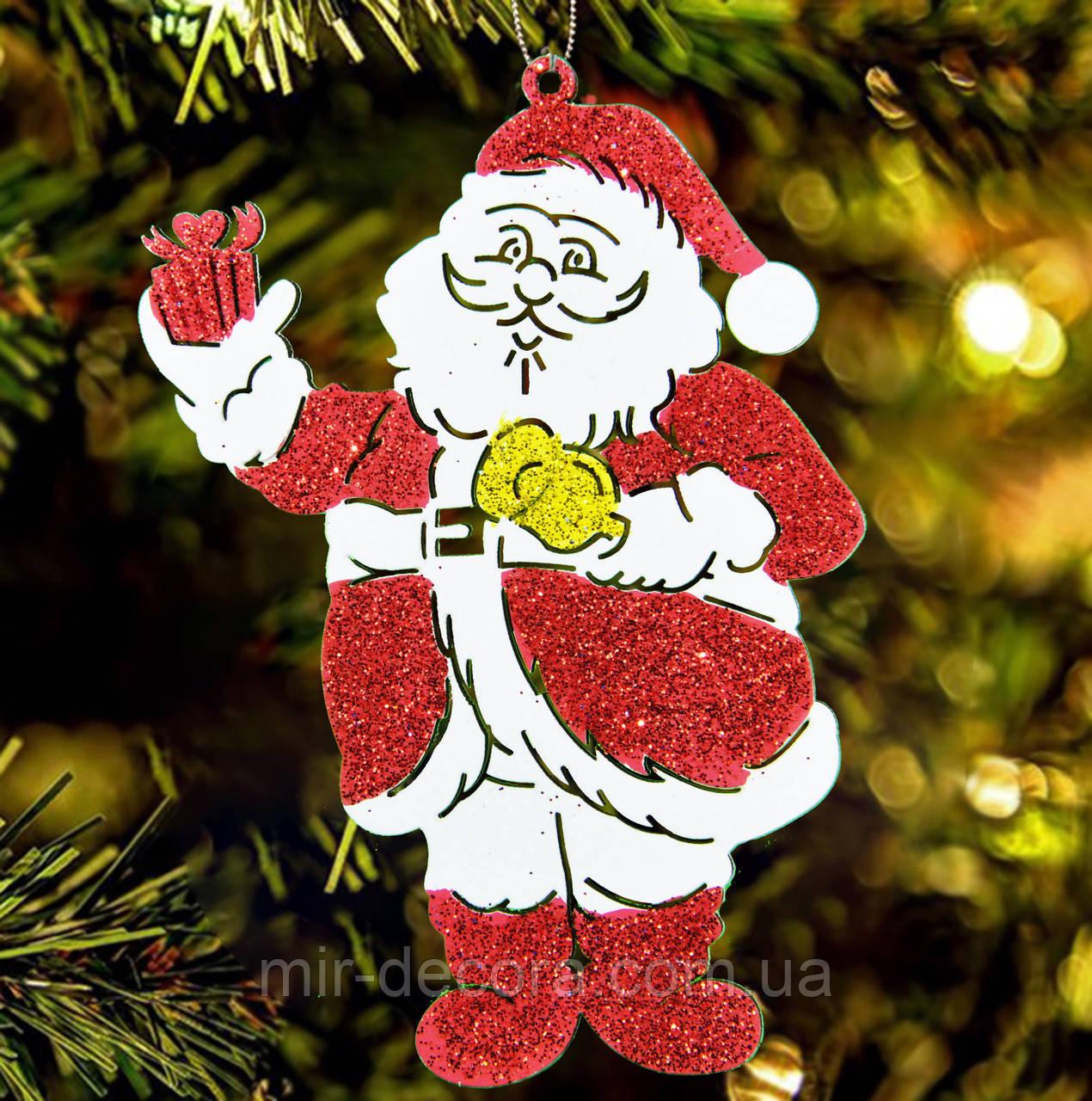 """Деревянная игрушка на елку """"Санта"""" высота 12 см, красный"""