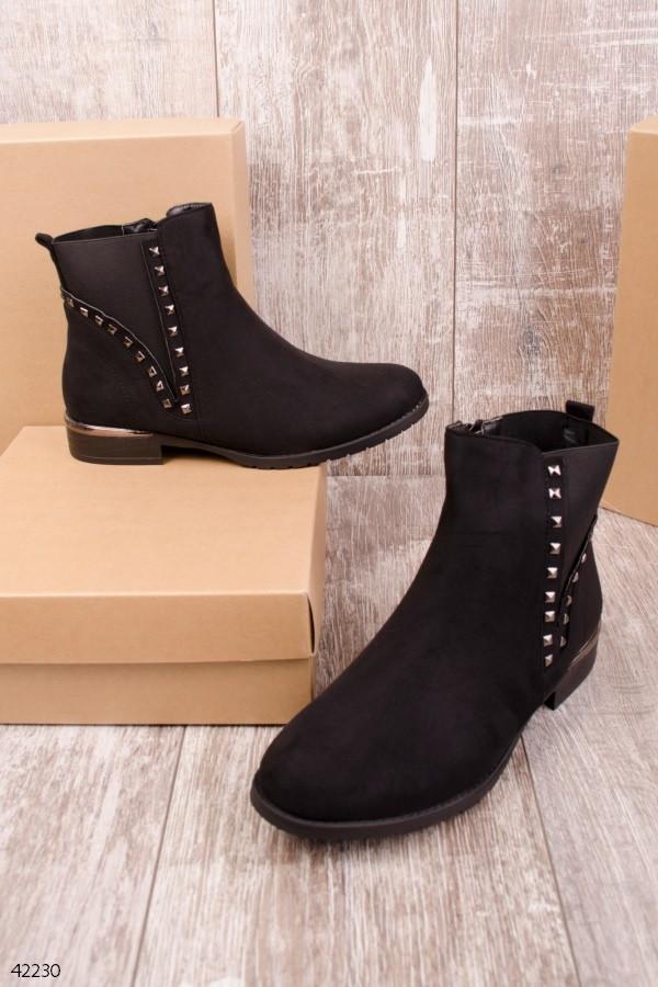 Женские ботинки черные эко  замш весна-осень