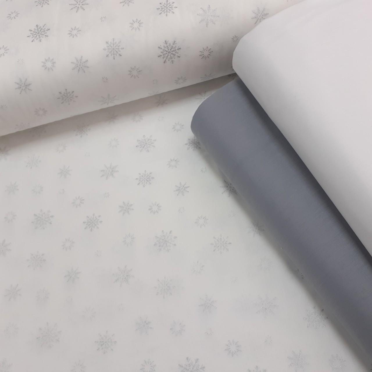 Хлопковая ткань (ТУРЦИЯ шир. 2,4 м) серебряные снежинки на белом (глиттер)