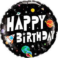 Фольгированный шар Космос С днем рождения Китай, 45*45 см (18'),