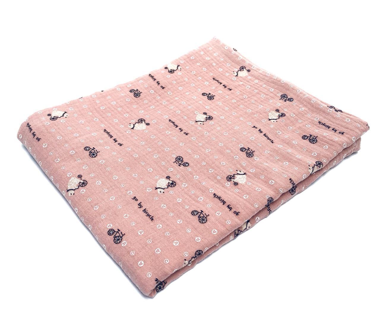 Пеленка муслиновая 100х120 см Велосипеды на розовом