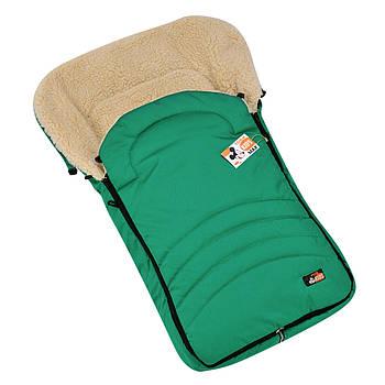 """Детский зимний конверт чехол на овчине с бахилами в коляску санки """"For kids"""" Maxi зеленый"""