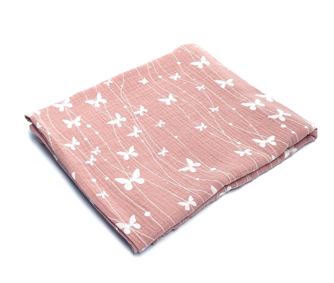 Пеленка муслиновая 100х120 Бабочки на розовом