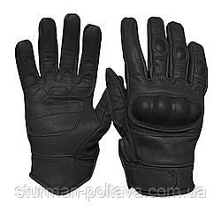 Перчатки мужские  армейские стрелковые с защитой  TACTICAL GLOVES LEDER    кожаные черные  Mil-tec  Германия