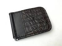 Кожаный мужской зажим для денег ручной работы черного цвета TsarArt с ручным швом с вставкой кожи крокодила