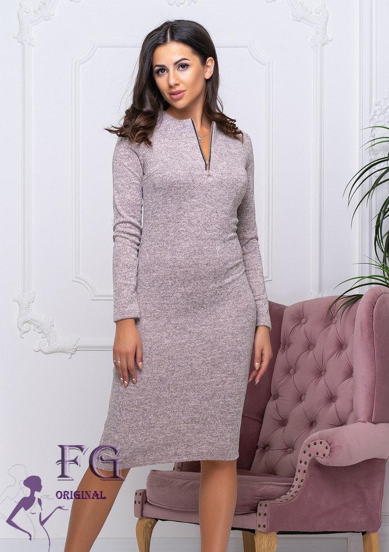 Ангоровое платье с молнией на декольте
