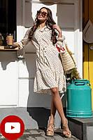 Летнее платье миди с воланом рукавами и тонким поясом цвет белый большой размер