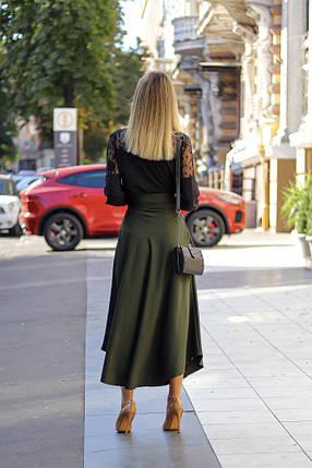 """Расклешенная женская миди-юбка """"Ruby"""" с поясом и карманами Хаки, 42/44, фото 2"""