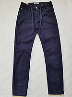 Темно-синие утепленные котоновые брюки для мальчика на евро-резинке,р.134