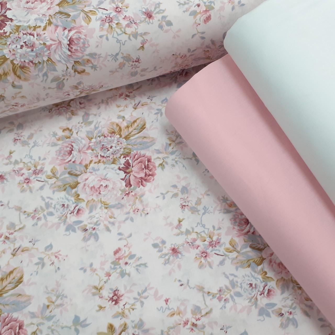 Хлопковая ткань (ТУРЦИЯ шир. 2,4 м) цветы в розовых тонах на светло-бежевом