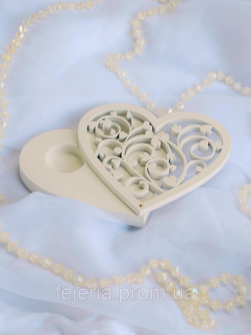 Шкатулка для колец сердце АЖУР
