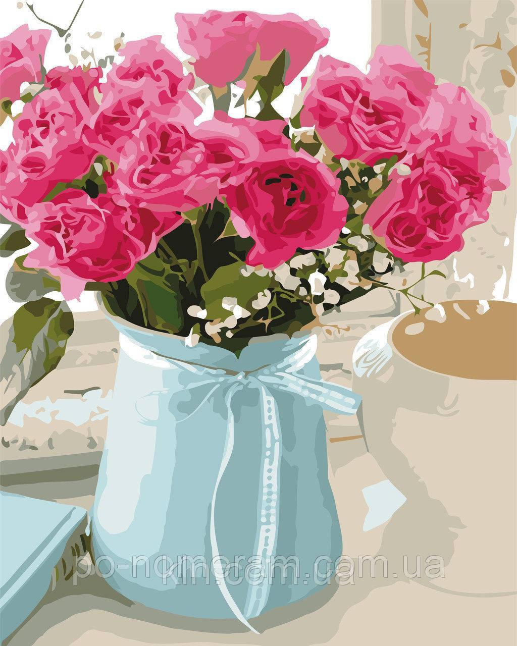 Картина по номерам ArtStory Розовые розы 40 х 50 см (арт. AS0521)