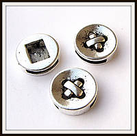 Бусина-рамка для браслетов  пуговица(диам. 1,8 см) 3 шт