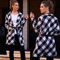 Кардиган женский букле с шерстью, с поясом и карманами, удлиненный, в черно-белую клетку, молодежный, стильный