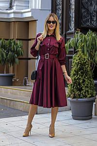 """Приталенное платье-рубашка """"Ira"""" с накладными карманами и поясом (4 цвета)"""
